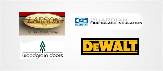 Larson, Guardian Fiberglass Insulation, Woodgrain Doors, Dewalt